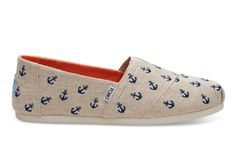 undefined Natural Embroidered Anchor Men's Classics