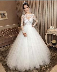 Ivory Tulle Wedding Gown Long Sleeves with Sheer Lace Bodice- Tulle Wedding Gown, Wedding Dress Sleeves, Dream Wedding Dresses, Bridal Dresses, Ivory Wedding, Lace Ball Gowns, Long Sleeve Wedding, Beautiful Dresses, Lace Bodice