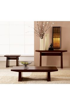 An awesome set of wood zen style chairs with a unique table