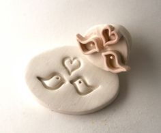 I Heart Love Birds Kissing Stamp Clay Tool for Ceramics Pottery Polyclay Metal Clay PMC via Etsy