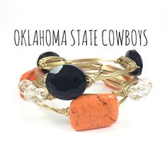 Oklahoma State University Cowboys Game Day Wire Wrapped Bangles Set, Courtney And Courtnie, Slab, Crystal Bracelet, Handmade Jewelry by CourtneyAndCourtnie on Etsy https://www.etsy.com/listing/241553576/oklahoma-state-university-cowboys-game