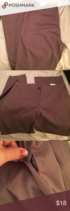 "Ann Taylor LOFT ""Kate"" pants. Brown. 10 NWT Never worn. Stylish brown pants. Relaxed fit. Size 10. Flare leg. Waist while flat: 17"". 30"" inseam. Small hole in seam (easily sewn) see photo. Rear pockets. Tab button detail on back. LOFT Pants Boot Cut & Flare"