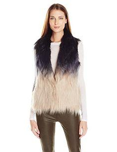 Buffalo David Bitton Women's 5 Point Dip-Dye Ombre Furry Vest, Multi, Medium ** Visit the image link more details.