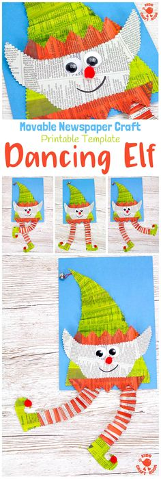 DANCING NEWSPAPER ELF CRAFT - Here's an adorable interactive Dancing Elf Craft the kids are going to love. Such a fun Christmas craft! Download the printable template and make an elf that not only looks cute but dances too! An easy and fun newspaper craft / recycled craft for the holidays.   #elf #elfcraft #elfart #christmas #christmascrafts #christmascraftsforkids #kidscrafts #kidsactivities #newspapercrafts #recycledcrafts #interactivecrafts #preschool #prek #kidscrafts