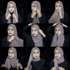 This is a basic everyday hijab style using a gorgeous grey scarf to wear with a full black outfit or an abaya for a casual day. Once we get our scarves fixed we can pick easily any outfit there to… Casual Chic-Stil Simple Everyday Hijab Tutorial Hijab Casual, Hijab Chic, Hijab A Enfiler, Hijab Fashion Casual, Moda Hijab, Muslim Fashion, Casual Hijab Styles, Casual Chic, Hijab Bride