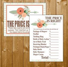 Tribal Baby Shower Price Is Right Game Printable, Boy Baby Shower Games, Baby Shower Game, Instant Download, Tribal