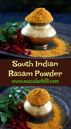 Step by Step Recipe to Make South Indian Rasam Powder at home plus ideas to use Rasam Powder for different recipes included. Podi Recipe, Rasam Recipe, Indian Chutney Recipes, Indian Food Recipes, Vegetarian Recipes, Indian Spice Mix Recipe, Spice Mixes, Spice Blends, Masala Powder Recipe
