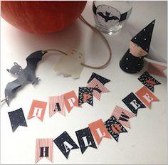 Pour Halloween qui approche, voici quelques goodies à imprimer et préparer pour une petite déco qui fait peur… mais pas trop! – Des chauves-souris à coller autour des gobelets. – Des petits fanions à imprimer en plusieurs exemplaires pour une (très) grande guirlande ou à disposer façon confettis sur la table. – Des jolies sorcières …