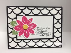Stampin' Up!'s Petal Potpourri flower on a classic black and white background made with the Stripped Scallop framelit.  http://www.stampinbj.com/2015/05/petal-potpourri-beauty.html