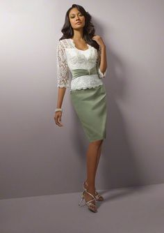 A-line Green Band Skirt Lace Jacket Knee-length Satin Mother Of the Bride Dresses
