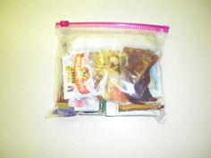 Lightweight backpacking meal in a bag (I like the addition of wet wipes and tooth picks.)
