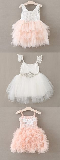 Popular Flower Girl Dresses lace and chiffon tutu, diamond, flowers, in white and blush pink Perfect for flower girls, photoshoots, princess parties, birthdays.