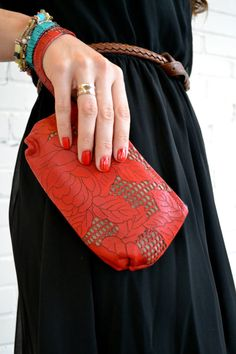 Scarlet Red Rose Cut-out Leather Wristlet with Leather Strap on Etsy, $64.00