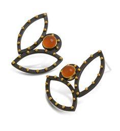 double open leaf orange earrings by Patricia Tschetter; photo: Marilyn O'Hara.
