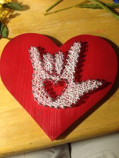 Nail and string art ASL I love you