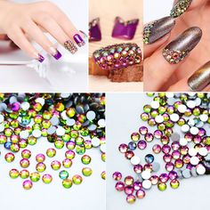 $1.29 1 bag Flat Chameleon Rhinestones Acrylic UV Gel Nail Decoration Nail Art Rhinestones 10 Sizes - BornPrettyStore.com