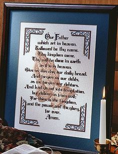 The Lord's Prayer Cross Stitch Pattern ePattern Religious Cross Stitch Patterns, Counted Cross Stitch Patterns, Cross Stitch Charts, Cross Stitch Fabric, Cross Stitching, Cross Stitch Embroidery, Embroidery Patterns, Crochet Cross, Lord's Prayer