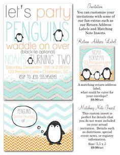 penguin party, winter party themes, boy birthday party ideas, winter wonderland, chevron boy party invites, penguins, Party Box Design