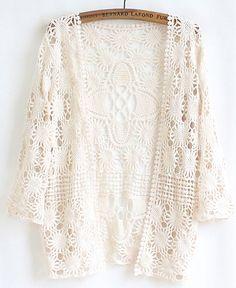Cardigan a maniche in lace-albicocca