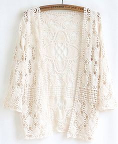 Apricot Long Sleeve Lace Cardigan Blouse,    #Blouses,    #blouse140429502