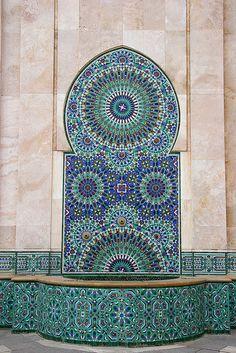 Mosaic and Fountain, Casablanca, Morocco