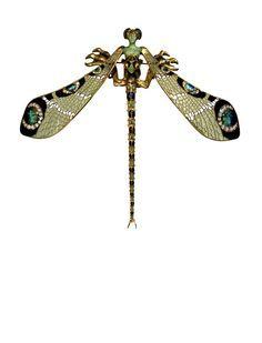 Dragonfly Broach. Gold, Enamel, Chrysoprase, Chalcedony, Moonstones and Diamonds. ca.1897-98. H. 23 cm; W. 26.5 cm. René Lalique (1860-1945). Museu Calouste Gulbenkian, Lisbon 1197.