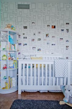 Frames wallpaper, from Graham and Brown; Nursery by @emily henderson