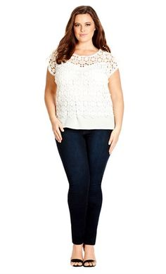 City Chic DAISY CROCHET TOP- City Chic Your Leading Plus Size Fashion Destination #citychic #citychiconline #newarrivals #plussize #plusfashion