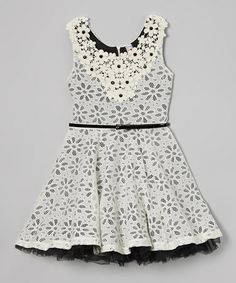 Love this Black Daisy Embroidered Belted Dress by Beautees on #zulily! #zulilyfinds