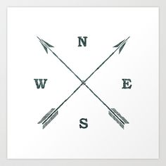 arrow compass Art Print by chyworks - $15.00