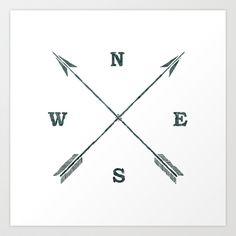 arrow compass Art Print by chyworks - $15.00