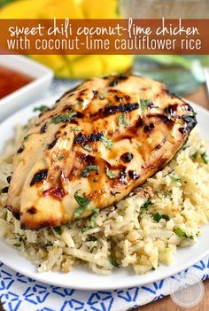 Sweet Chili Coconut-Lime Grilled Chicken with Coconut-Lime Cauliflower Rice - Iowa Girl Eats-Sweet Chili Coconut-Lime Grilled Chicken with Coconut-Lime Cauliflower Rice is a light and refreshing gluten-free grilled dinner. Simple and scrumptious! Paleo Recipes, Cooking Recipes, Free Recipes, Mexican Recipes, Recipes Dinner, Coconut Lime Chicken, Sweet Chili, Sweet Corn, Sweet Sweet