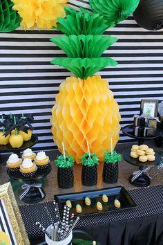 Celebrate Mom with a fruit-tastic pineapple party Flamingo Party, Flamingo Birthday, Hawaiian Birthday, Luau Birthday, Fruit Party, Luau Party, Havanna Party, Diy Birthday Cake, Poster S