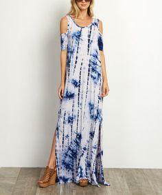Look what I found on #zulily! Blue Tie-Dye Cutout Maxi Dress #zulilyfinds