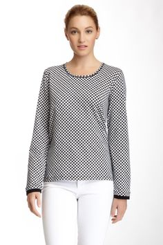 Like this houndstooth top. Hard to tell how jersey-ish it looks, but it might pass.