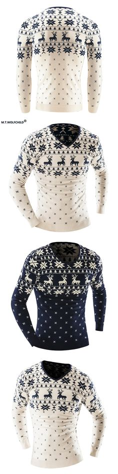 2017 Autumn and Winter Christmas Style Pullover Sweater Men Deer Printed Long Sleeve Sweaters Mens Casual Slim Fit Thick Sweater