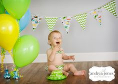 Kara with the banner from your shower :) Baby boy first birthday pictures