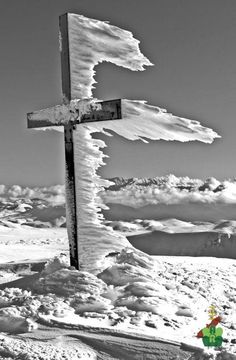 snow ice wind swept calvary Easter cross, standing wind blown behind cross frozen icicles, black white photography, The power of winter on the Gran Sasso Mountain! I Love Winter, Winter Time, Winter Snow, Cool Pictures, Cool Photos, Beautiful Pictures, Amazing Photos, Snow Scenes, Winter Scenes