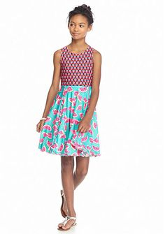 Bloome Flip and Twirl Reversible Watermelon Jersey Dress Girls 7-16