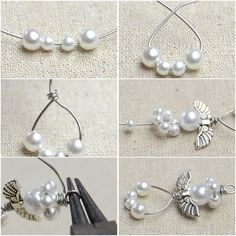 How to Make Angel EarringsFree Diy Jewelry Projects Learn how to make guardian angel earrings with white pearls and silvery wires. The tutorial shows you a quick and creative way to finish off the cute beaded angel earrings. Wire Jewelry, Beaded Jewelry, Jewelery, Jewellery Box, Tanishq Jewellery, Silver Jewelry, Gucci Jewelry, Paper Jewelry, Dainty Jewelry