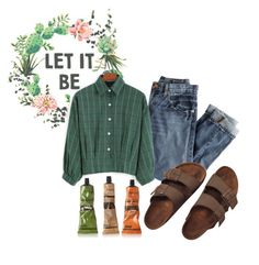 """""""GREEN // LET IT BE"""" by bubblywisdom ❤ liked on Polyvore featuring J.Crew, Birkenstock and Aesop"""