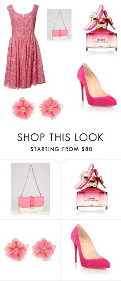 """Barbie Pink "" by josie-w22 ❤ liked on Polyvore featuring Valentino, Marc Jacobs, Kenneth Jay Lane, Christian Louboutin and Prada"