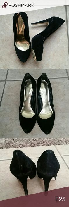 BCBGeneration black heels Very well loved black heels but they still got a lot of life in them! Beautiful black suede with gold detailing in the front. As shown in pictures they do have scuffing around the shoes and tip of heel. Price reflects condition. Please feel free to ask any questions! BCBGeneration Shoes Heels