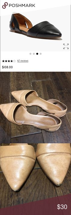 Tan Madewell d'orsay  leather flats Worn less than 5x, GUC. Very minor scuffing on front toe as shown. Could be polished. Adorable and a steal! I've got to clean out my closet so bundle and save!! Madewell Shoes Flats & Loafers