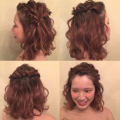 簡単!かわいい!モテる!その髪形はハーフアップ|【HAIR】 Short Hair Updo, Short Wedding Hair, Wedding Hair And Makeup, Ponytail Hairstyles, Bride Hairstyles, Hair Makeup, Bridesmaid Hair, Prom Hair, Medium Hair Styles