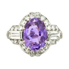 Art Deco purple sapphire and diamond ring by Ellis Brothers | From a unique collection of vintage engagement rings at http://www.1stdibs.com/jewelry/rings/engagement-rings/