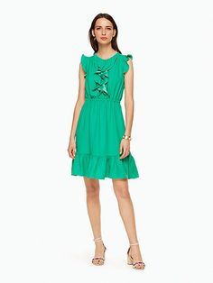 crepe ruffle dress, beryl green, large