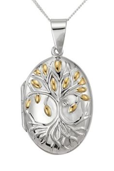 Ornami Sterling Silver and Gold Plated Family Tree Design Oval Locket on Chain Family Tree Designs, Silver Jewelry, Unique Jewelry, Chain Jewelry, Jewelry Necklaces, Pendant Necklace, Jewels, Secret Compartment, Sterling Silver