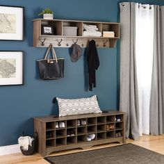 Bring a new dimension and an updated appearance to your mudroom or bedroom by choosing this Prepac in Drifted Gray Shoe Cubby Bench. Shoe Cubby Bench, Shoe Cubby Storage, Corner Storage, Hallway Shoe Storage, Entry Storage Bench, Shoe Storage Living Room, Front Door Shoe Storage, Hanging Shoe Storage, Storage Ideas