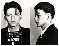 A 23-year-old Frank Sinatra has his mug shots taken after he was arrested for adultery and seduction, a crime at the time. [1938]